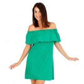 Πράσινο Mini Φόρεμα με Έξω τους Ώμους