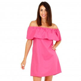 Φούξια Mini Φόρεμα με Έξω τους Ώμους