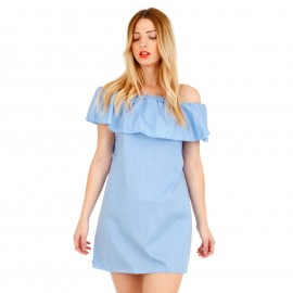 Γαλάζιο Mini Φόρεμα με Έξω τους Ώμους