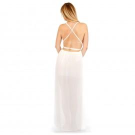 Λευκό Maxi Φόρεμα με Ανοιχτή Πλάτη