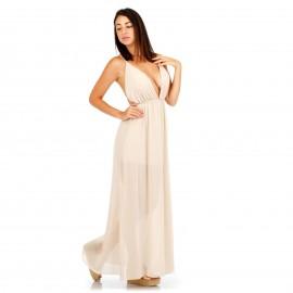 Μπέζ Maxi Φόρεμα με Ανοιχτή Πλάτη