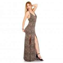 Λεοπάρ Maxi Φόρεμα με Σκισίματα και Ανοιχτή Πλάτη