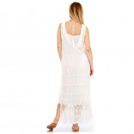 Λευκό Δαντελωτό Maxi Φόρεμα