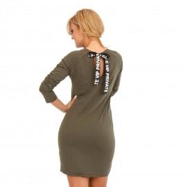 Χακί Mini Φόρεμα με Κορδέλα