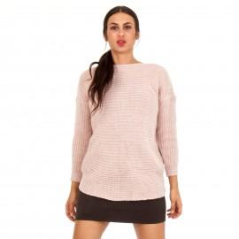 Ρόζ Πλεκτή Μπλούζα με Άνοιγμα