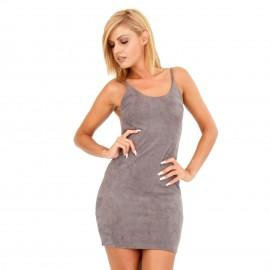Γκρι Mini Φόρεμα με Έξω την Πλάτη