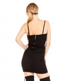 Μαύρο Σουέτ Εφαρμοστό Mini Φόρεμα