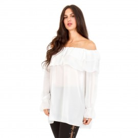 Λευκή Μπλούζα με Βολάν