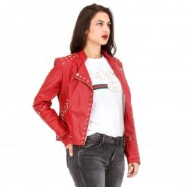 Κόκκινο Δερμάτινο Βiker Jacket με Τρουκς