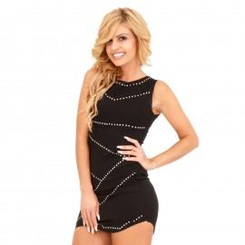 Μαύρο Εφαρμοστό Mini Φόρεμα με Τρουκς