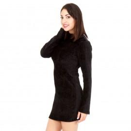 Μαύρο Εφαρμοστό Mini Φόρεμα με Ανοιχτή Πλάτη