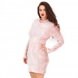 Ροζ Εφαρμοστό Φόρεμα με Ανοιχτή Πλάτη