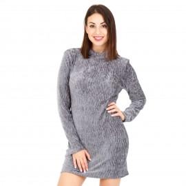 Γκρι Εφαρμοστό Mini Φόρεμα με Ανοιχτή Πλάτη