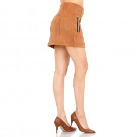Καφέ Ψηλόμεση Mini Φούστα