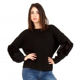 Μαύρη Πλεκτή Μπλούζα με Γούνα στα Μανίκια