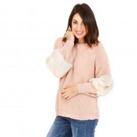 Ροζ Πλεκτή Μπλούζα με Γούνα στα Μανίκια
