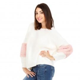 Λευκή Πλεκτή Μπλούζα με Γούνα στα Μανίκια