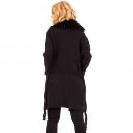Μαύρο Παλτό με Γούνα