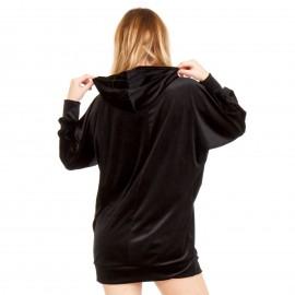 Μαύρη Βελούδινη Μπλούζα με Κουκούλα