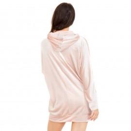 Ροζ Βελούδινη Μπλούζα με Κουκούλα