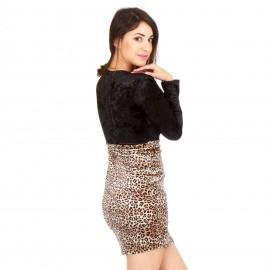 Μαύρο Λεοπάρ Βελούδινο Φόρεμα