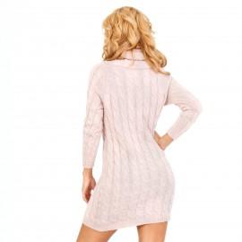Ροζ Πλεκτό Μπλουζοφόρεμα με Φαρδύ Λαιμό