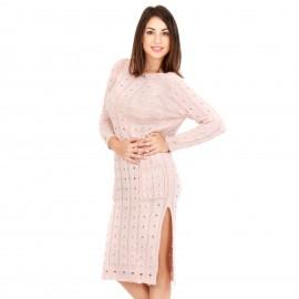 Ροζ Πλεκτό Μπλουζοφόρεμα με Σκισίματα