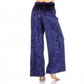 Μπλε Βελούδινη Πλισέ Παντελόνα
