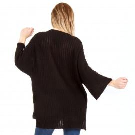 Μαύρη Μακρυμάνικη Πλεκτή Μπλούζα με Πέρλες