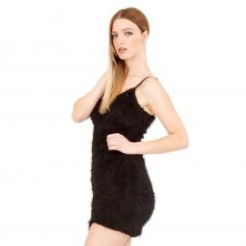 Μαύρο Γούνινο Mini Φόρεμα