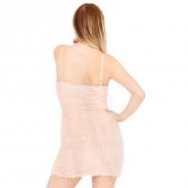 Ροζ Γούνινο Mini Φόρεμα