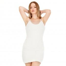 Λευκό Γούνινο Mini Φόρεμα
