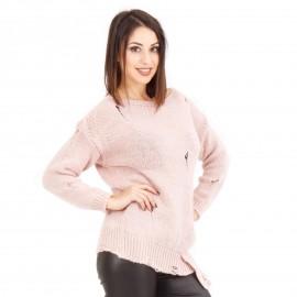Ρόζ Πλεκτή Μπλούζα Με Σκίσιματα