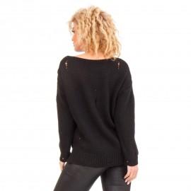 Μαύρη Πλεχτή Μπλούζα Με Σκίσιματα