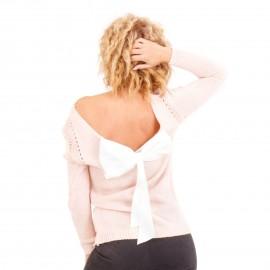 Ρόζ Πλεκτή Μπλούζα με Φιόγκο
