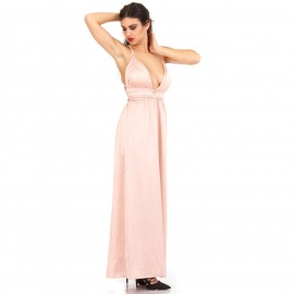Ρόζ Πολυμορφικό Maxi Φόρεμα