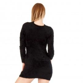 Μαύρο Γούνινο Μπλουζοφόρεμα