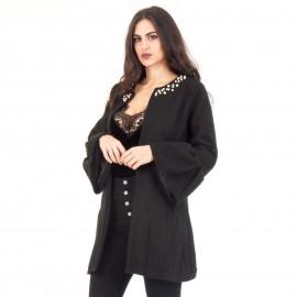 Μαύρο Παλτό με Πέρλες
