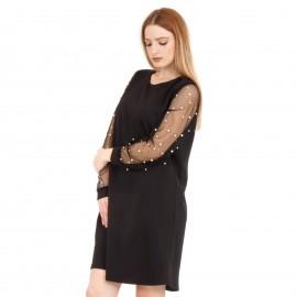 Μαύρο Μini Φόρεμα με Τούλι στα Μανίκια και Πέρλες