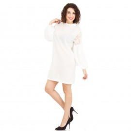 Λευκό Φόρεμα με Τούλι στα Μανίκια και Πούπουλα