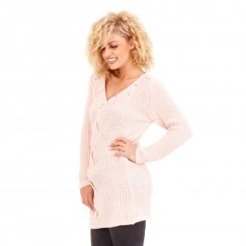 Ρόζ Πλεκτή Μπλούζα με Πέρλες