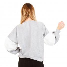 Γκρι Φούτερ Μπλούζα με Λευκές Γούνινες Λεπτομέρειες