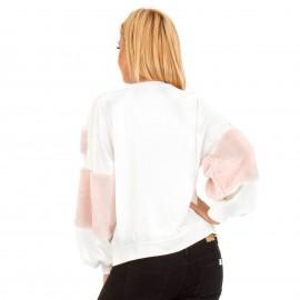 Λεύκη Φούτερ Μπλούζα με Γούνινες Λεπτομέρειες