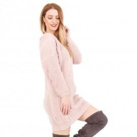 Ρόζ Πλεκτό Μπλουζοφόρεμα με Σχέδιο στην Πλάτη