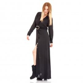 Μαύρο Maxi Φόρεμα με Κουμπιά και Ζώνη