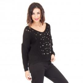 Μαύρο Πλεκτό Μπλουζάκι με Πέρλες
