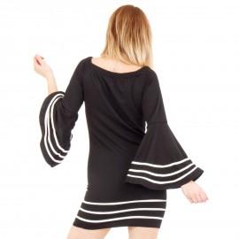 Μαύρο Φόρεμα με Λευκές Ρίγες