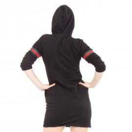 Μαύρο Μπλουζοφόρεμα με Κόκκινη Ρίγα