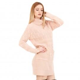 Ροζ Πλεκτό Μπλουζοφόρεμα Ζιβάγκο