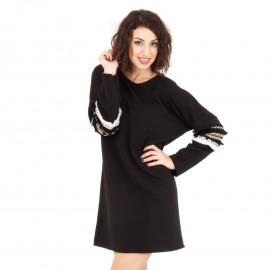 Μαύρο Μπλουζοφόρεμα με Σχέδιο στο Μανίκι